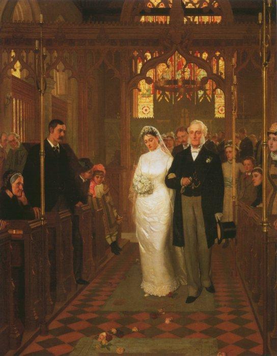 unequal marriage: Edmund Leighton, Till Death Do Us Part, 1878